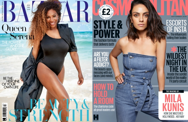 The covers of Harper's Bazaar U.K. and Cosmopolitan U.K.