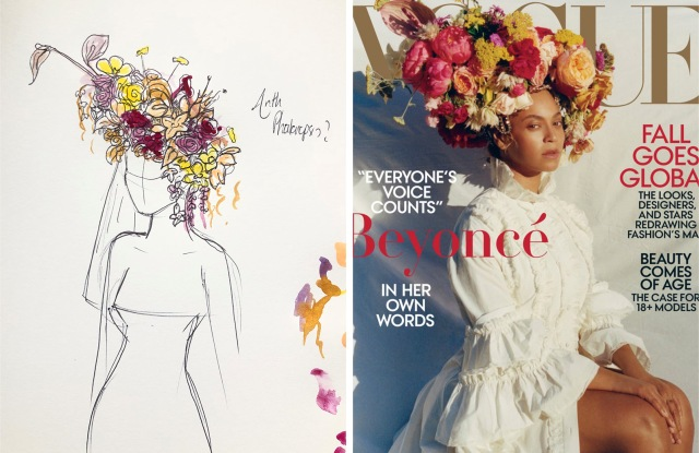 A sketch of Beyoncé's floral headdress for Vogue by Phil John Perry, left, and the piece on the September cover of Vogue