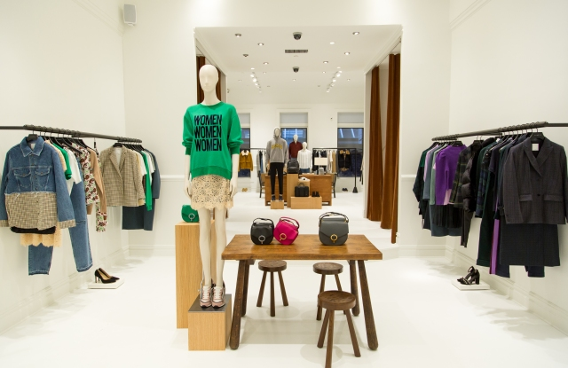 Inside a Sandro pop-up store.