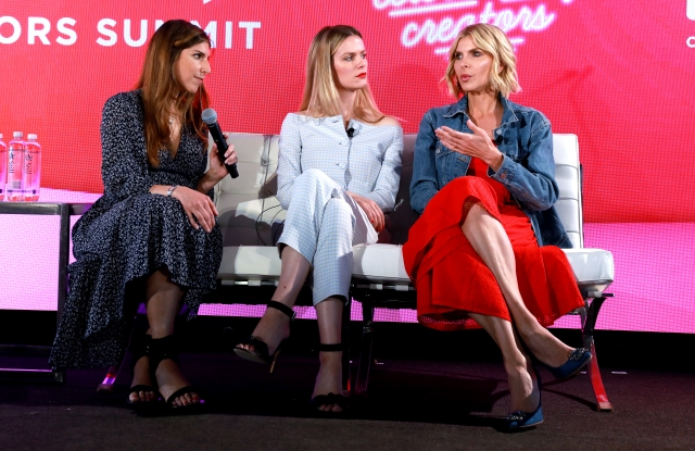Sophia Chabbott, Brooklyn Decker and Whitney Casey speak onstage at BlogHer 2018 Summit at Pier 17 in New York City.