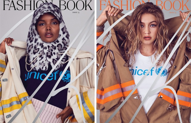 Halima Aden and Gigi Hadid shot by Pieter Hugo for issue 13 of CR Fashion Book.