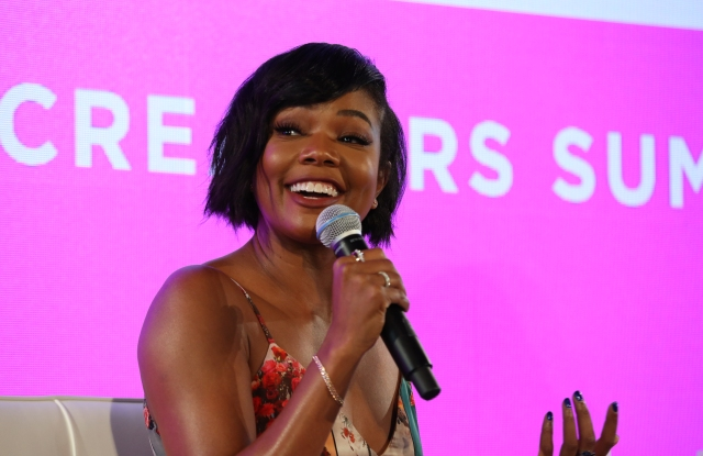 Gabrielle Union on stage at BlogHer 2018 Summit at Pier 17 in New York City.