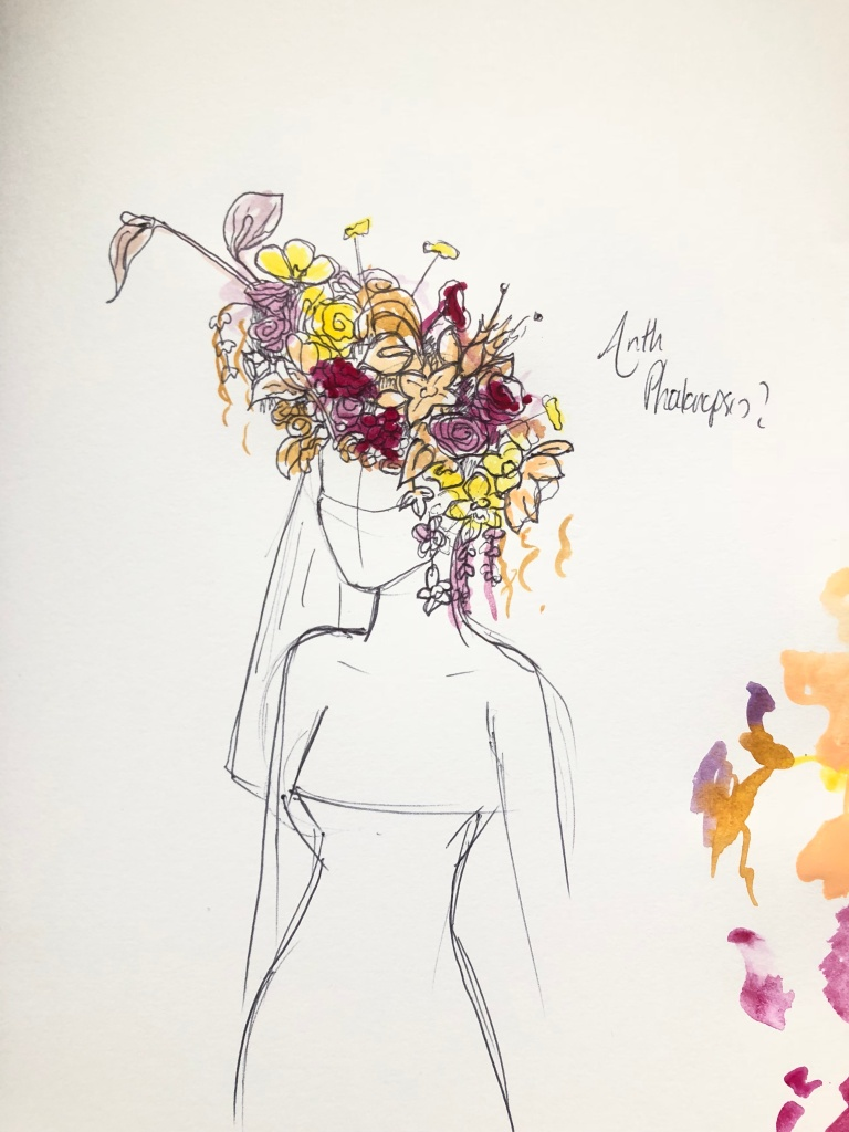 A sketch of Beyoncé's floral headdress for Vogue by Phil John Perry