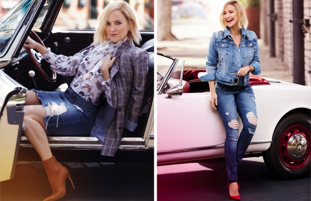 Two images from the Soho Jeans campaign starring Kate Hudson.
