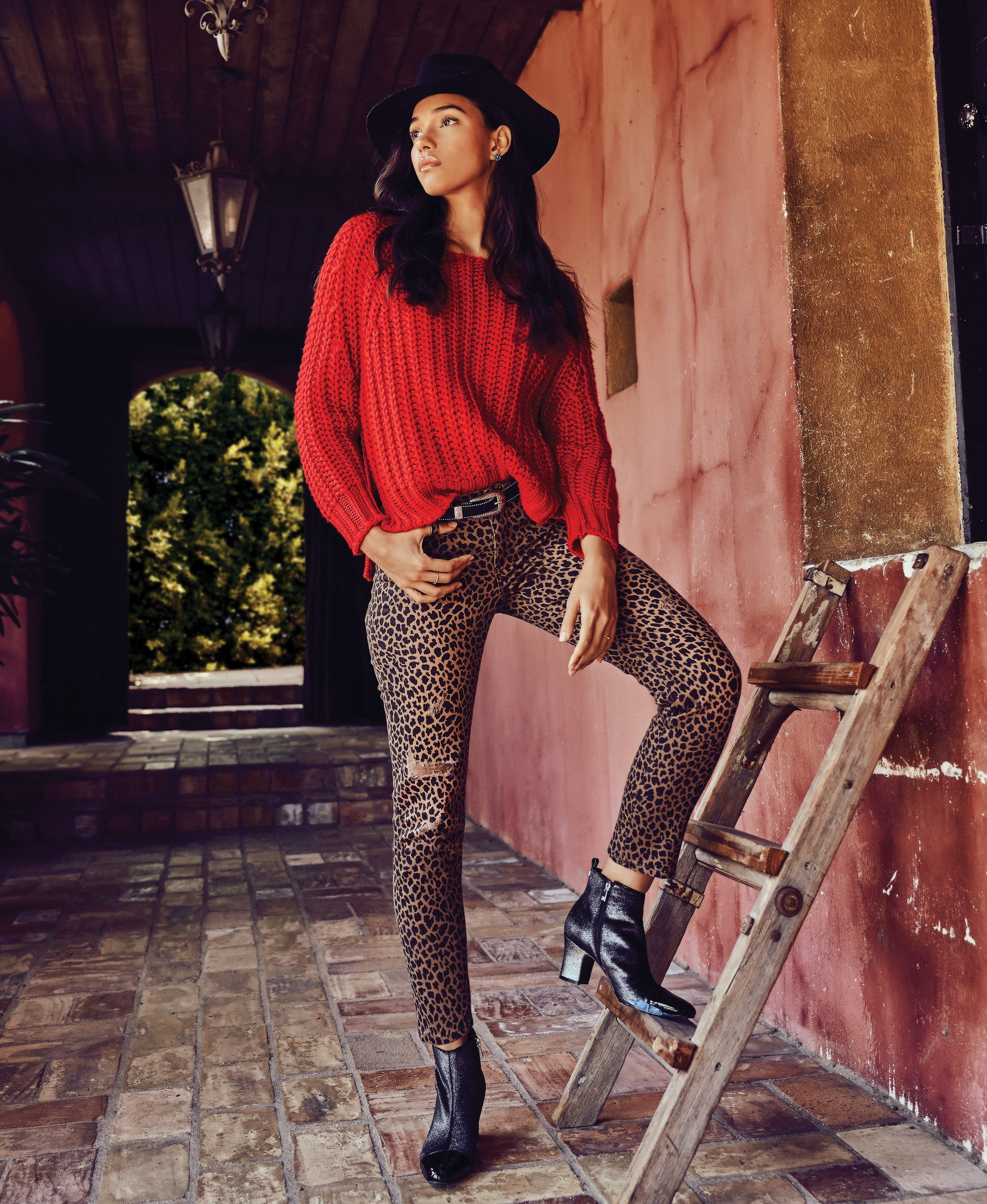 Kut from the Kloth red sweater leopard jeans