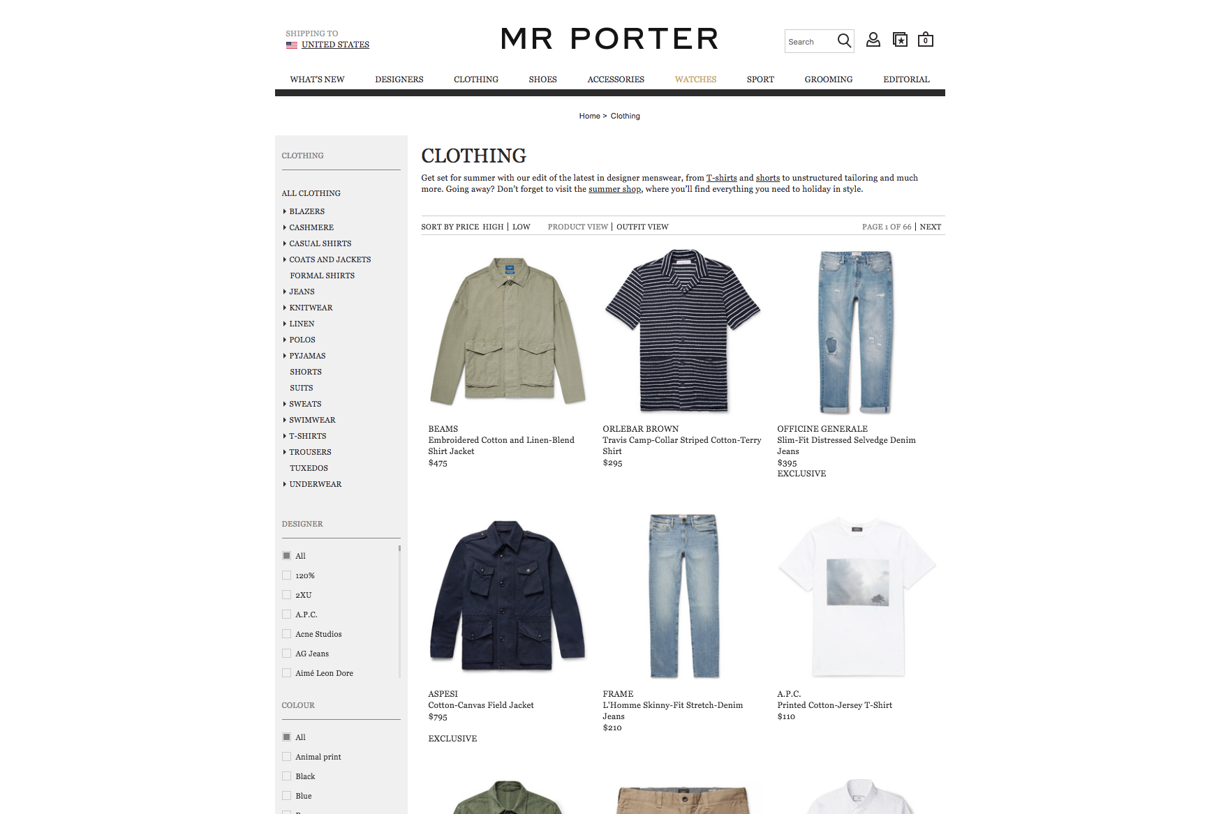 The Mr. Porter website.