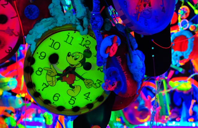 """A detail from Kenny Scharf's Cosmic Cavern, part of """"Mickey: The True Original Exhibition."""