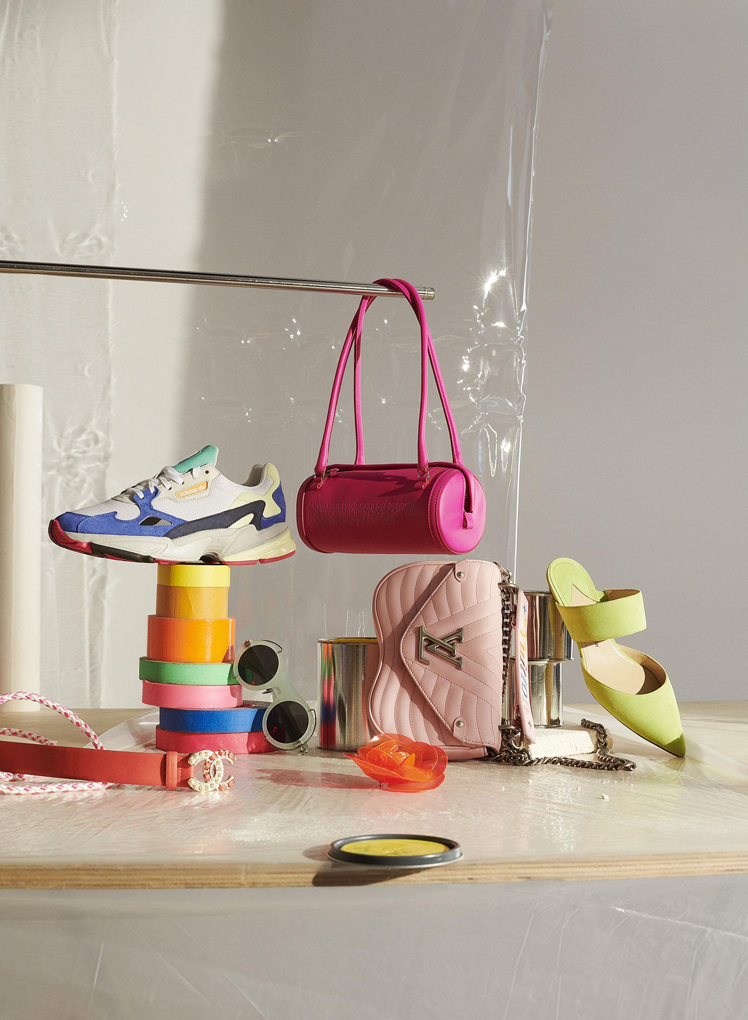 From Left: Chanel belt; Adidas Originals sneaker; Calvin Klein 205W39NYC eyewear; Calvin Klein 205W39NYC bag; Chanel brooch; Louis Vuitton pink bag