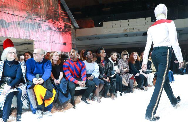 Michael B. Jordan, Lupita Nyong'o, Letitia Wright, Anna Wintour, Grace Coddington in the front rowCalvin Klein show, Fall Winter 2018, New York Fashion Week, USA - 13 Feb 2018