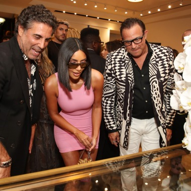 Gerard Maione, Kim Kardashian and Seth WeisserWhat Goes Around Comes Around party, Los Angeles, USA - 21 Aug 2018