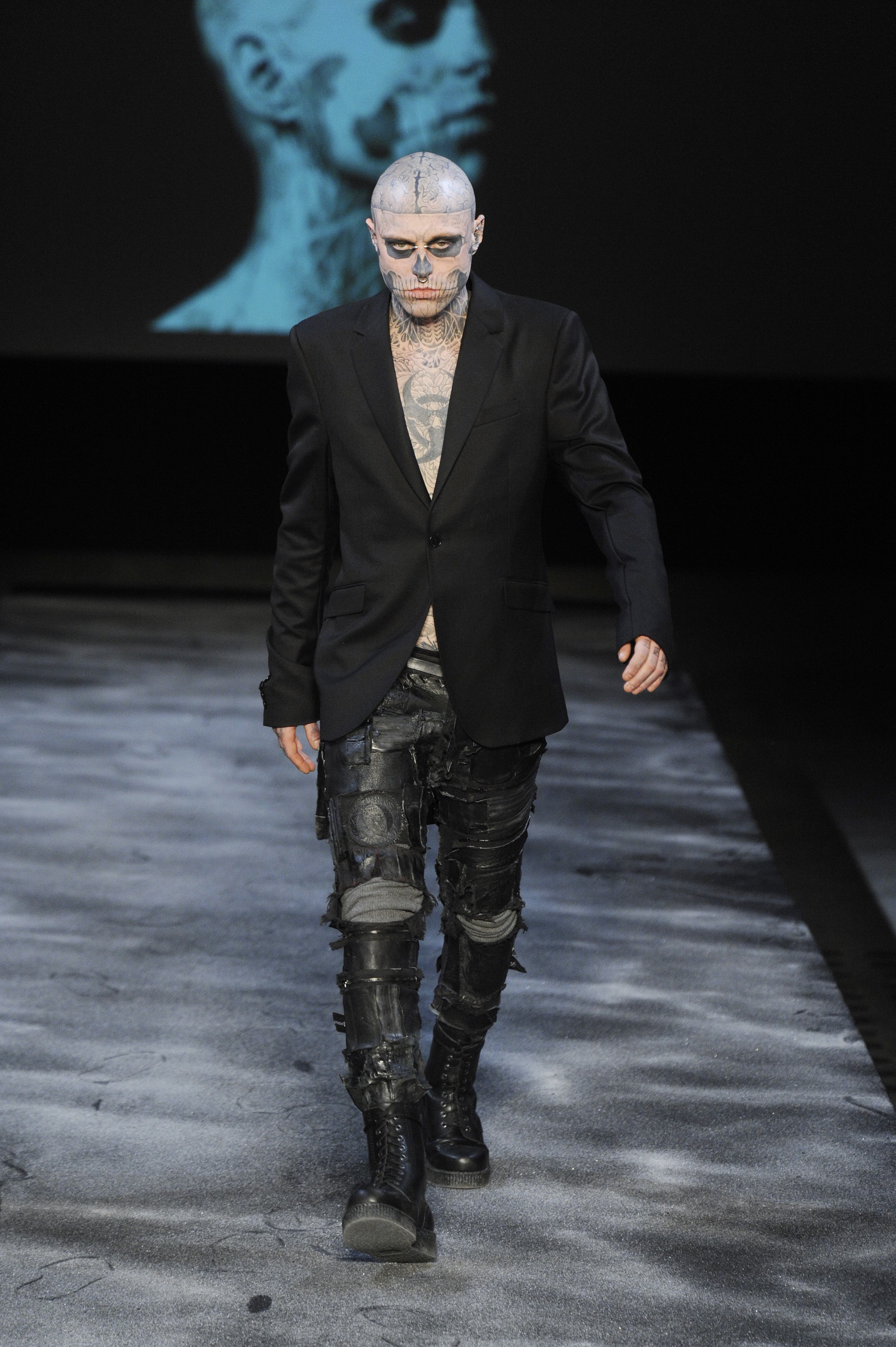Rick Genest aka Zombie Boy on the runway at Mugler men's fall 2011 show
