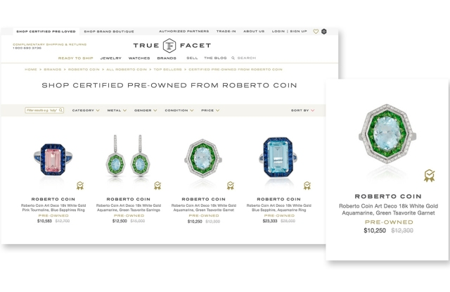 A page from the TrueFacet site for brand-certified Roberto Coin jewelry.