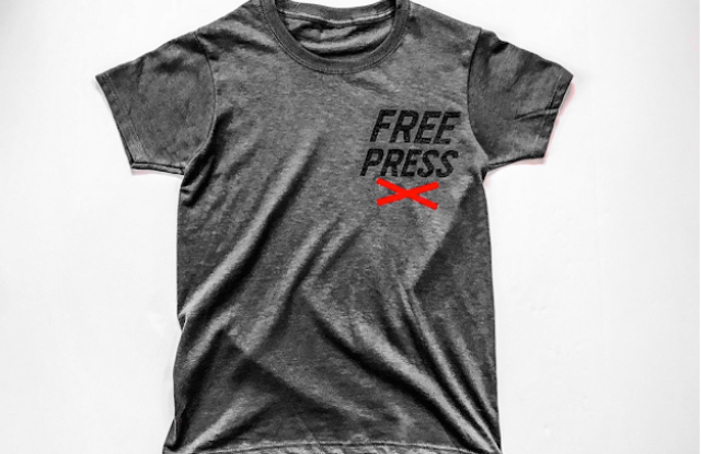 """The """"Free Press"""" support T-shirt."""