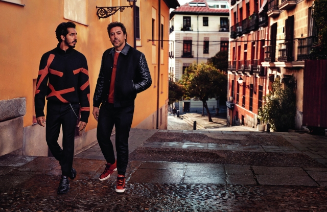 Javier Bardem and Dev Patel in the Zegna fall ad campaign.