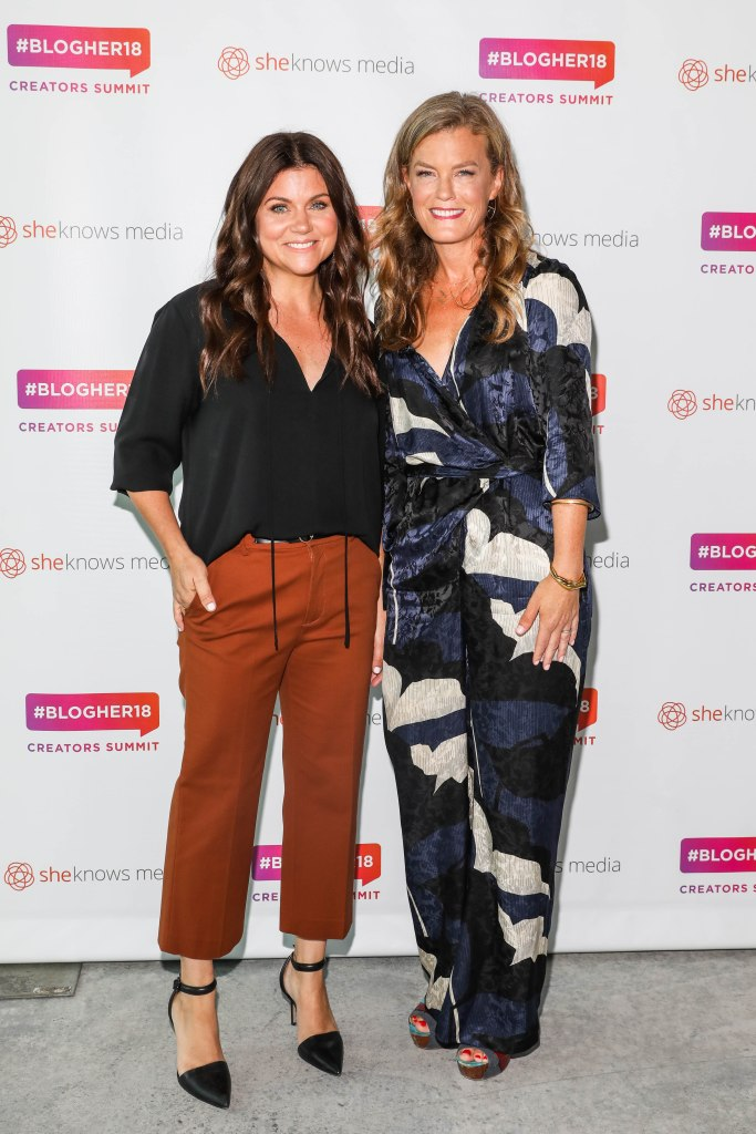 Tiffani Thiessen and Samantha Skey seen backstage at BlogHer 2018 Summit at Pier 17 in New York City.