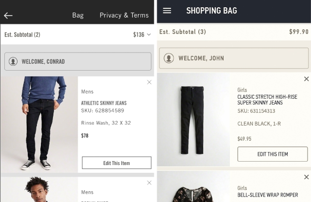 Mobile shopping at Abercrombie, Hollister now includes Venmo payment option.