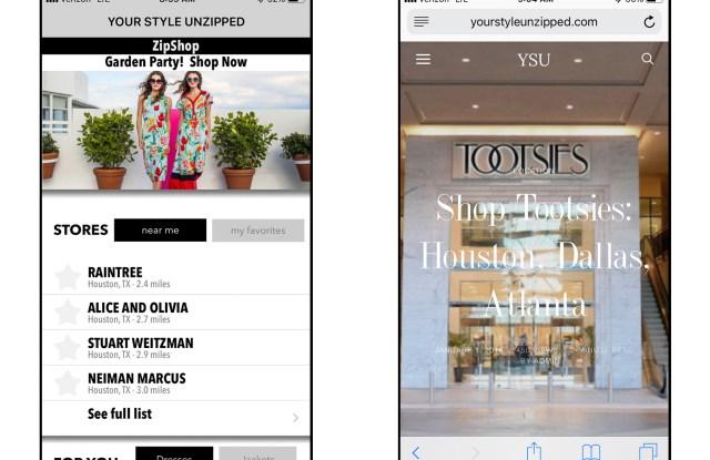 Screen shots from the ZipShop app.