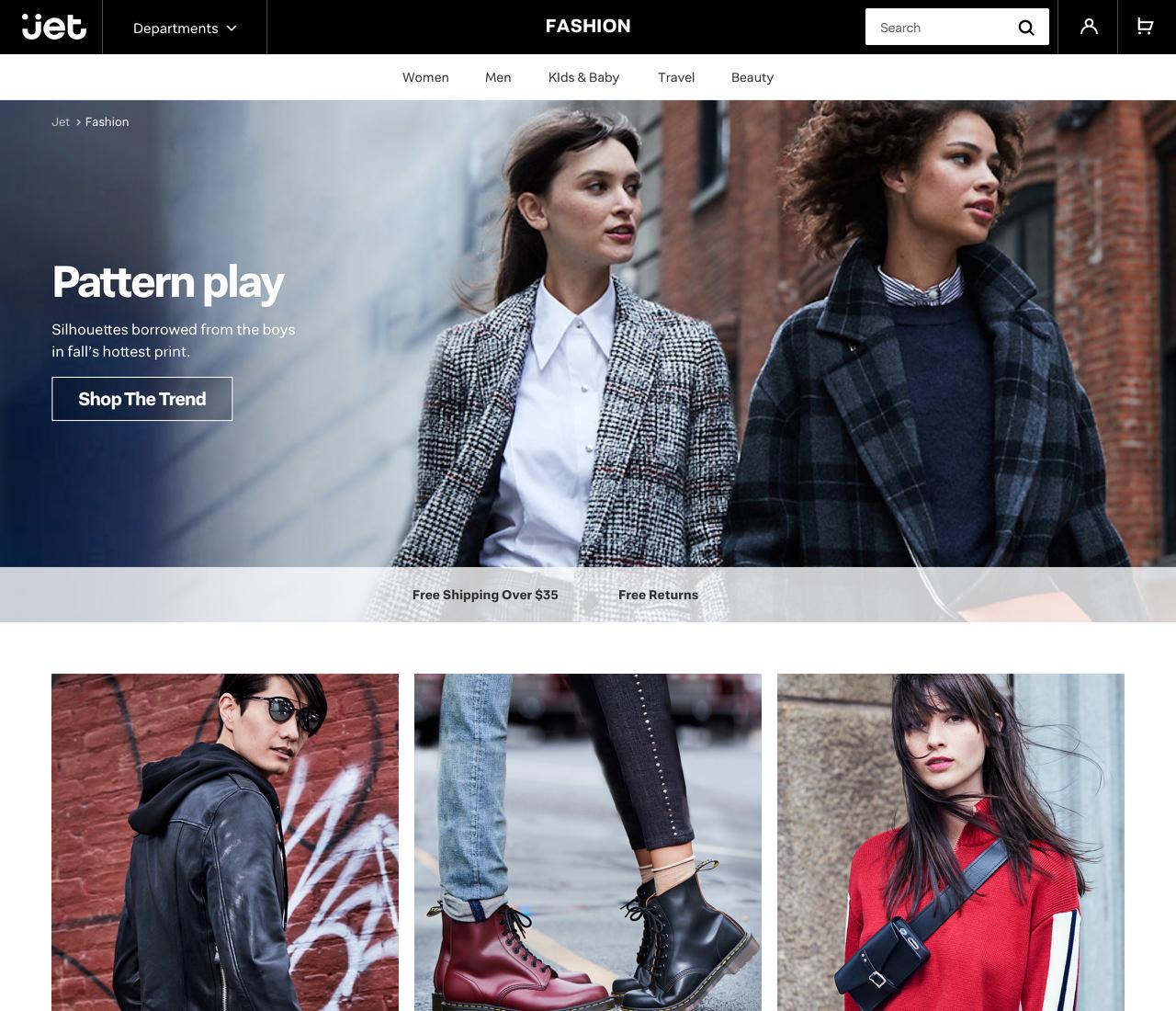 Jet.com's new fashion landing page.