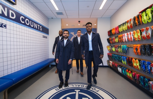 Sebastien Ibeagha, Maxi Moralez, Ben Sweat and Rodney Wallace of the NYCFC in custom Knot Standard.