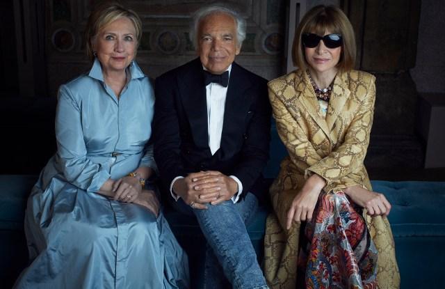 Hillary Clinton, Ralph Lauren and Anna Wintour, shot by Alexi Lubomirski for Ralph Lauren.