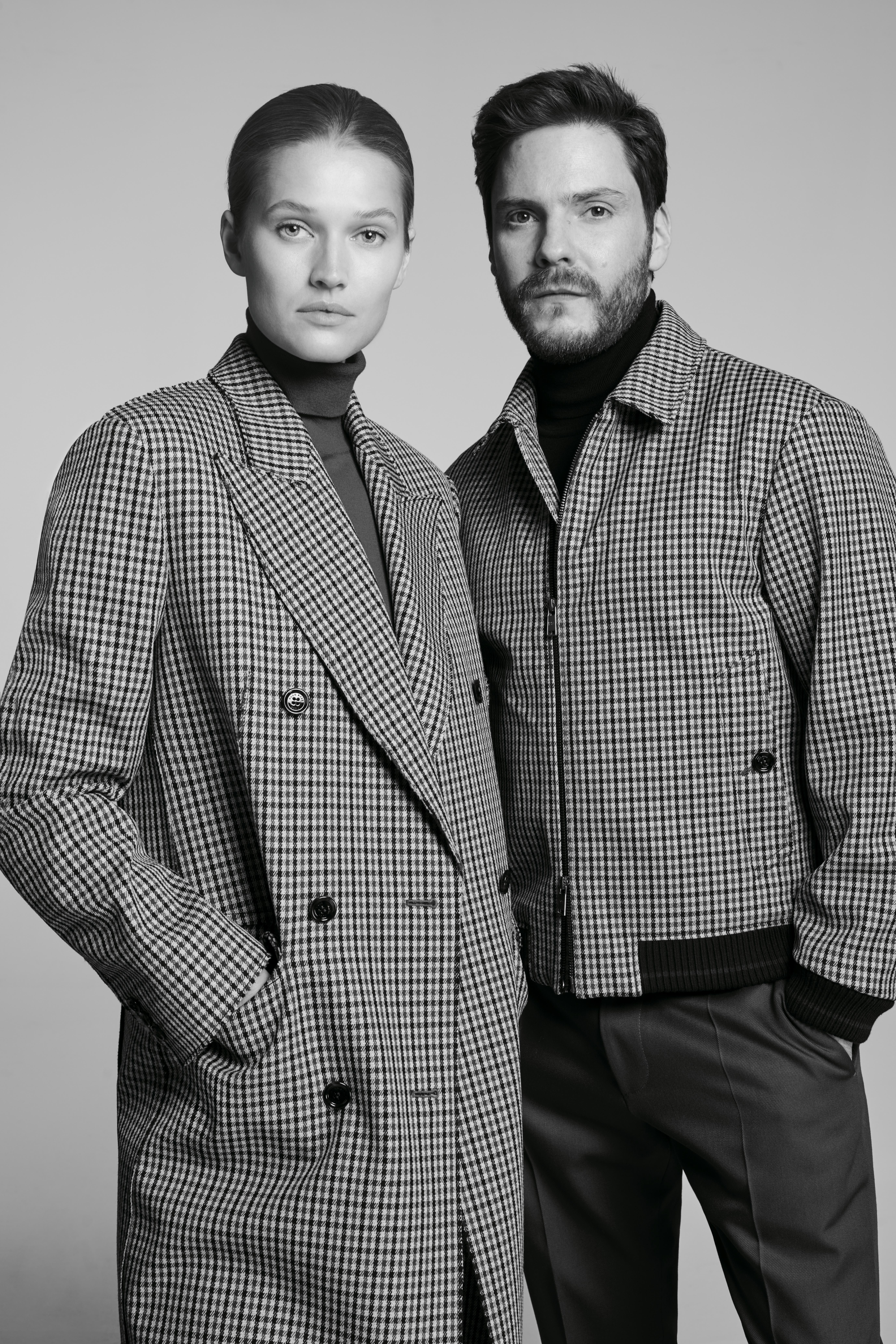 """Toni Garrn and Daniel Brühl are in the ad campaign for the Boss """"Made in Germany"""" capsule collection."""