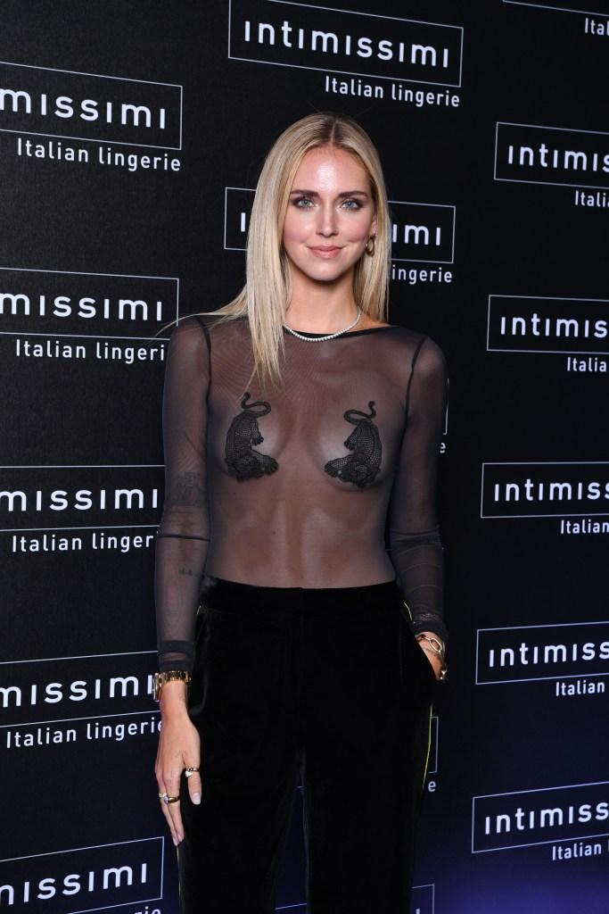 Chiara Ferragni attending the Intimissimi fashion show.