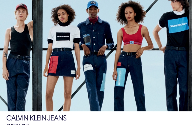 A fall campaign image from Calvin Klein Jeans, photographed by Willy Vanderperre and styled by Olivier Rizzo.