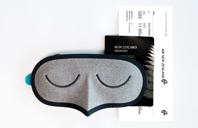 The Air New Zealand eye mask produced by Allbirds.