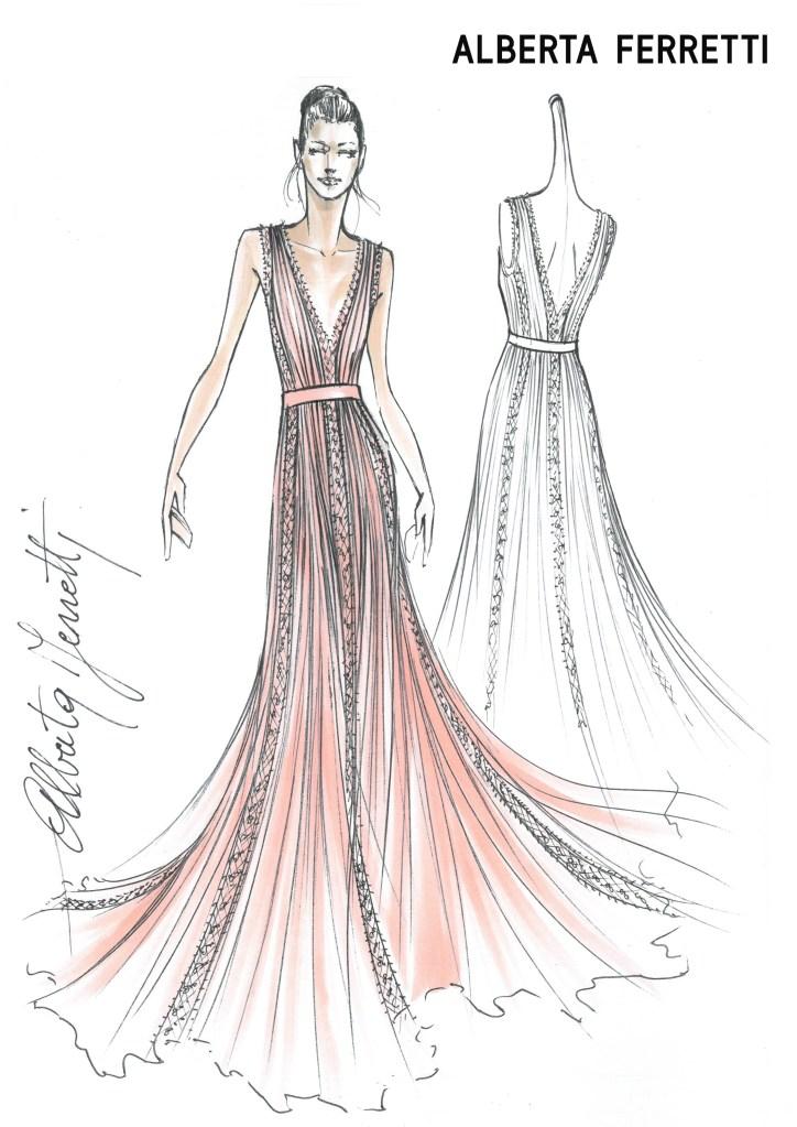 A sketch of the sustainable gown Alberta Ferretti created for Ferragni's bridesmaids.