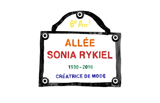 A colorful rendering of the Sonia Rykiel street plaque.