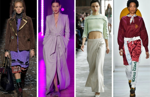 (From left) Looks from Coach 1941 Fall 2018, Brandon Maxwell Fall 2018, Eckhaus Latta Fall 2019 and Pyer Moss Fall 2018.