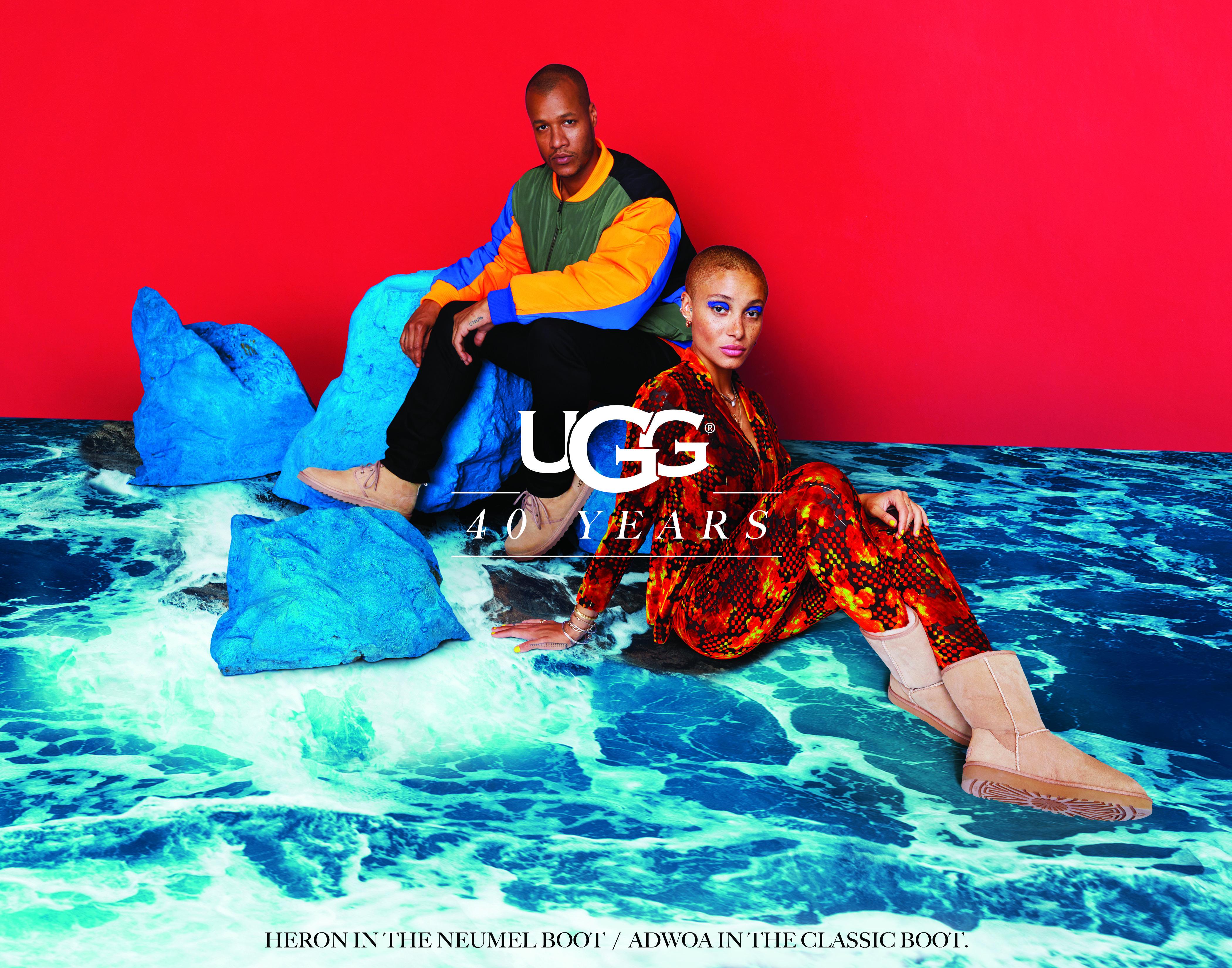 UGG's 40th Anniversary campaign starring Heron Preston and Adwoa Aboah