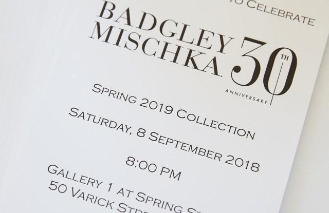The invitation to the designers' 30th anniversary show.