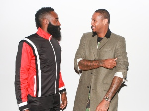 James Harden joins Carmelo Anthony at the Melo Made launch.