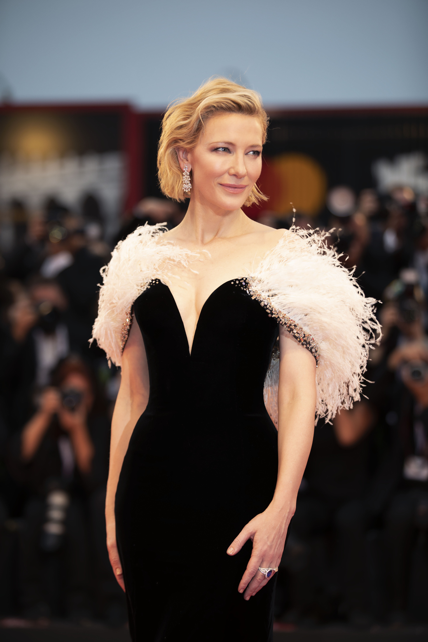 """Actress Cate Blanchett attends the premiere of the film """"A Star Is Born"""" wearing Armani Privé during the 75th Venice International Film Festival in Venice in 2018."""
