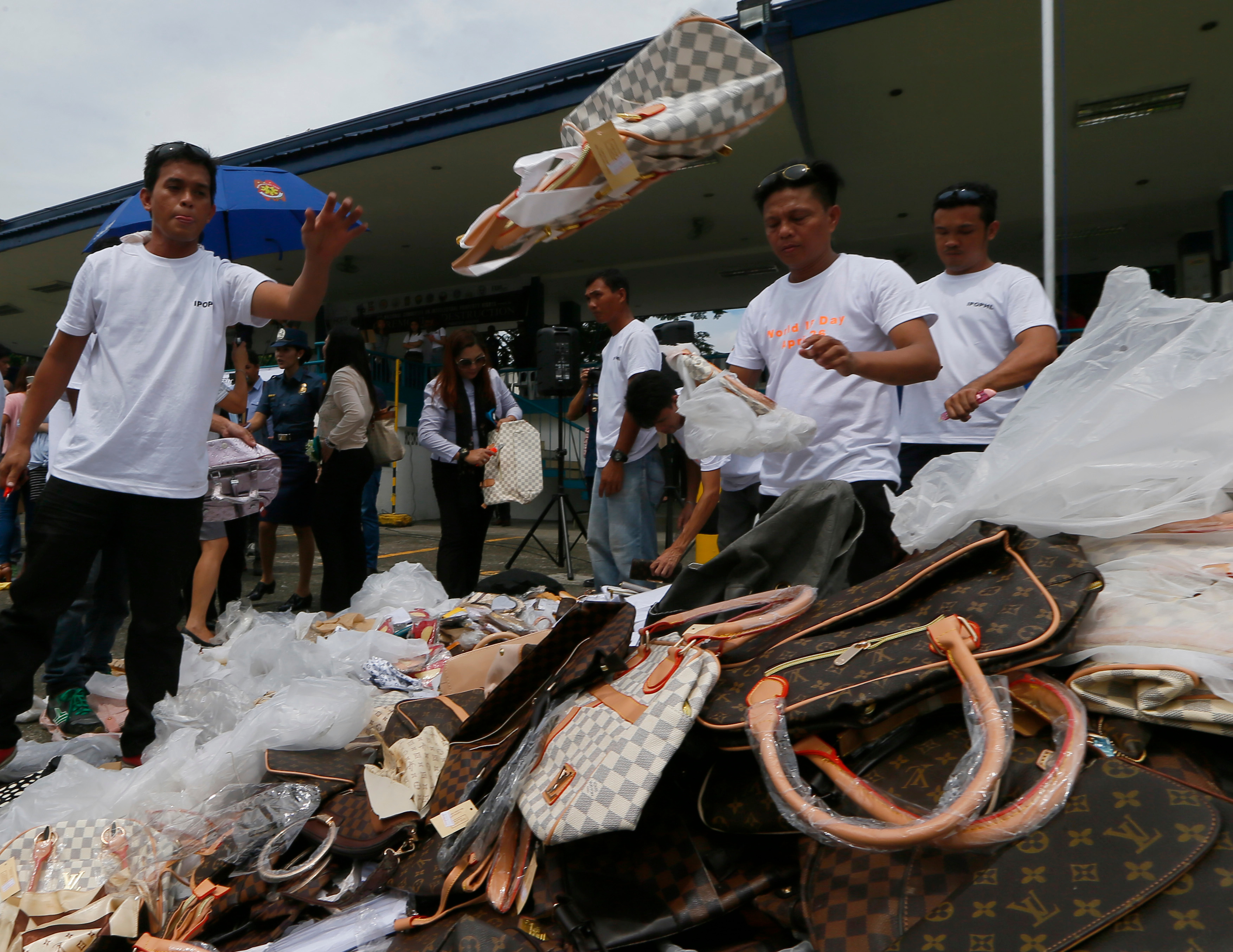 Destruction of counterfeit goods in the Philippines