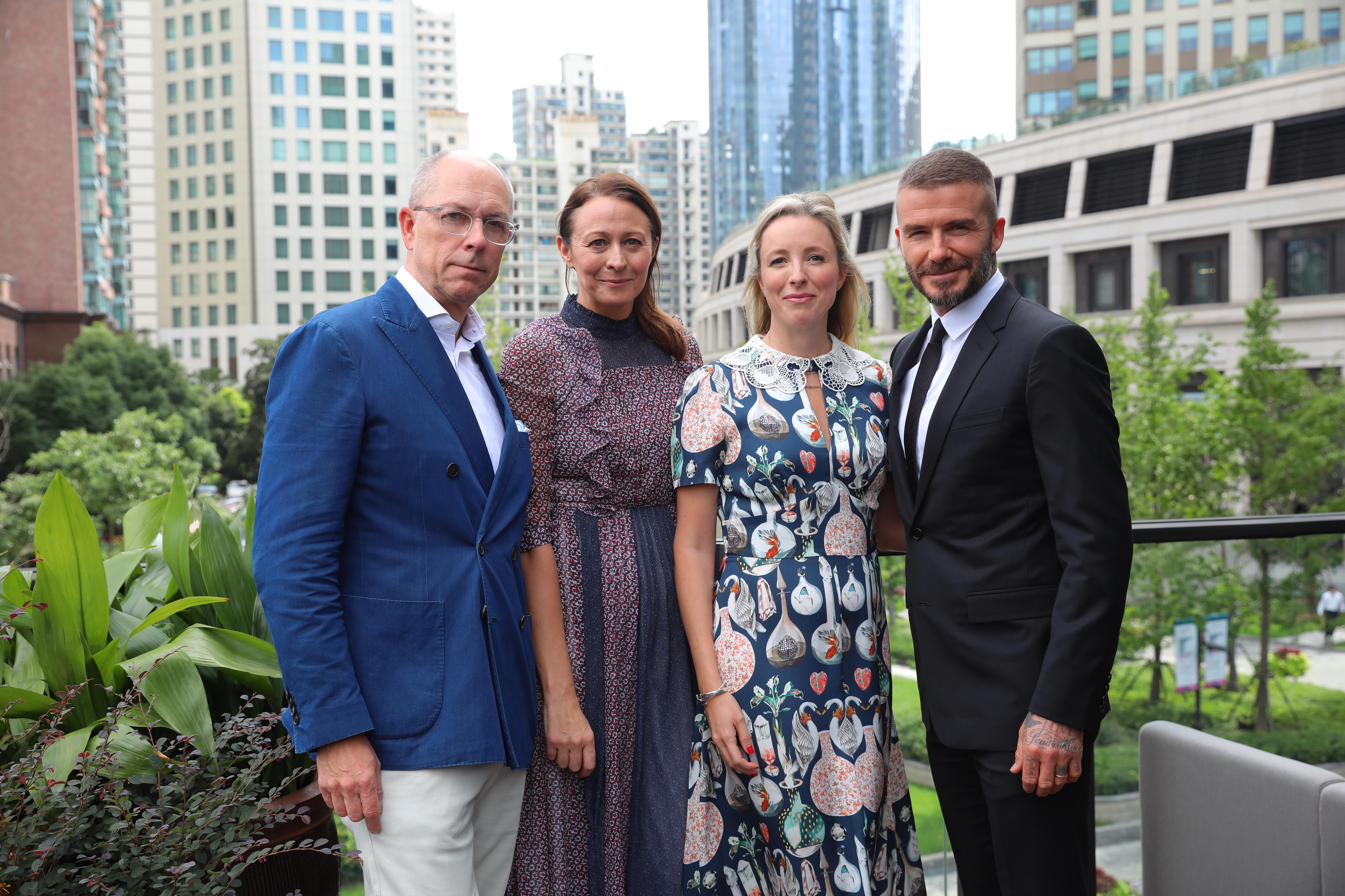 Dylan Jones, Caroline Rush, Stephanie Phair & David Beckham at The Middle House Shanghai