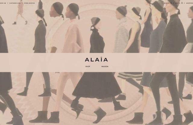 A screenshot of the Maison Alaïa online flagship.