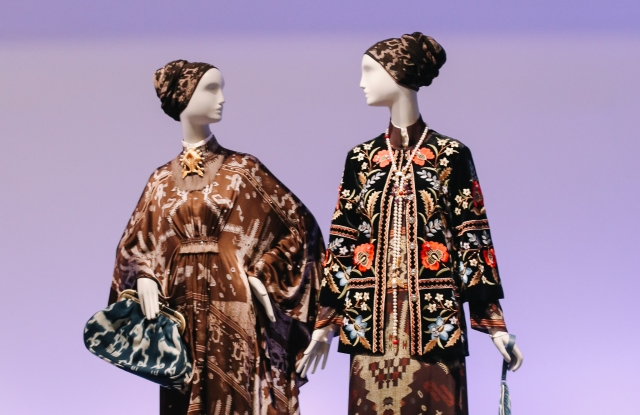 """A view of the """"Contemporary Muslim Fashions"""" exhibit at de Young Museum, San Francisco"""