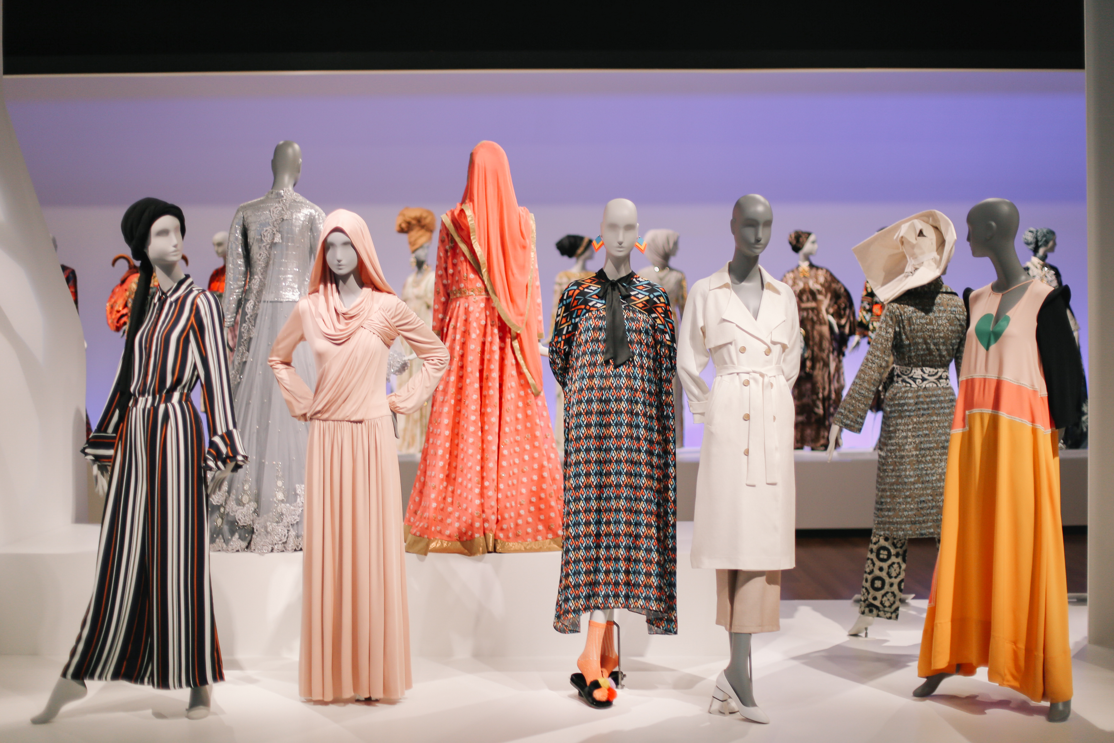 """A view of the """"Contemporary Muslim Fashions"""" exhibit at de Young Museum, San Francisco."""