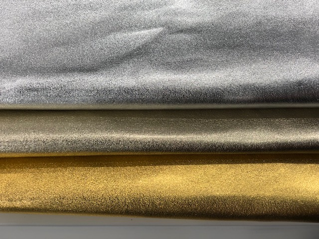 Leather hides with a shimmering finish from Conceria Stefania.