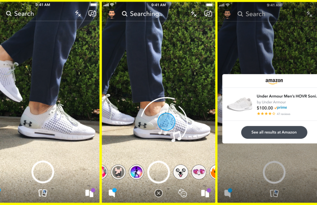 Snapchat is rolling out a test feature for Amazon-fueled visual search.