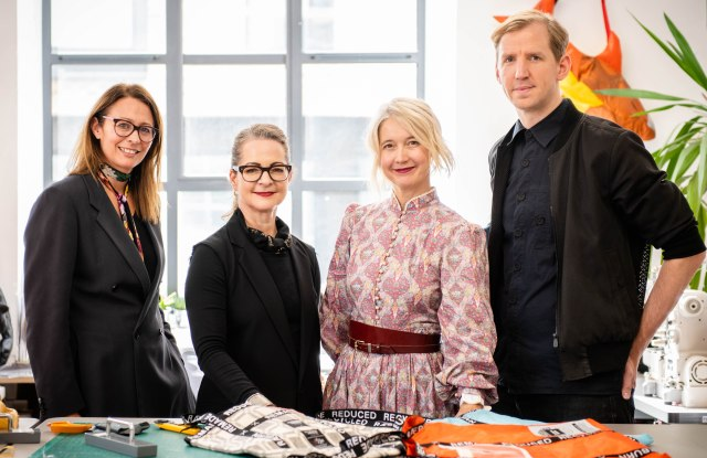 From Left to Right: Caroline Rush CBE, Chief Executive of the British Fashion Council, Professor Frances Corner OBE, Head of London College of Fashion, UAL, Justine Simons OBE, Deputy Mayor for Culture and the Creative Industries, designer Christopher Raeburn, at the launch of the Fashion District