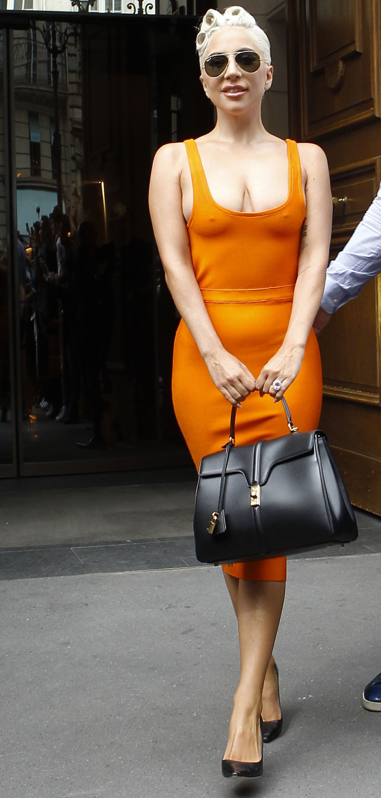 Lady Gaga was spotted last week in Paris carrying a handbag designed by Hedi Slimane for Celine