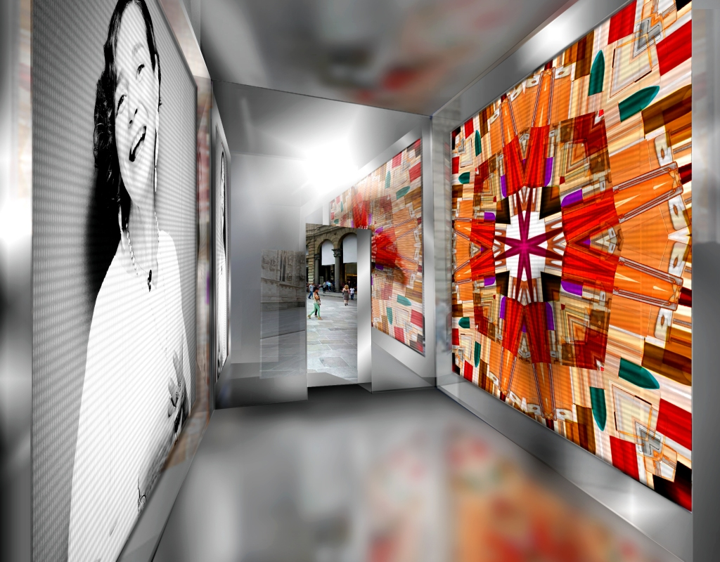 A digital rendering of the installation by Giovanni Gastel inside the cube dedicated to cosmetics, part of the MIlano XL project.
