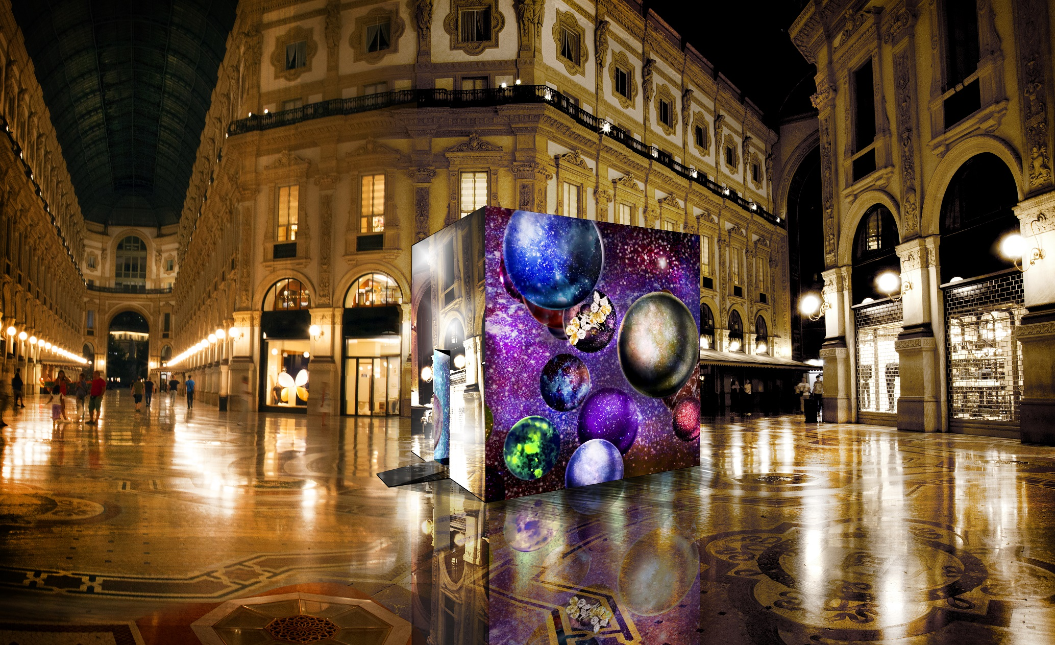 A digital rendering of the cube dedicated to jewelry, part of the MIlano XL project.