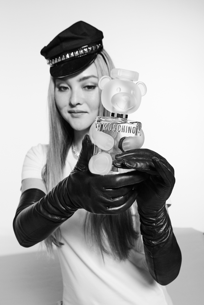 Devon Aoki behind the scenes of Moschino's Toy 2 ad campaign.