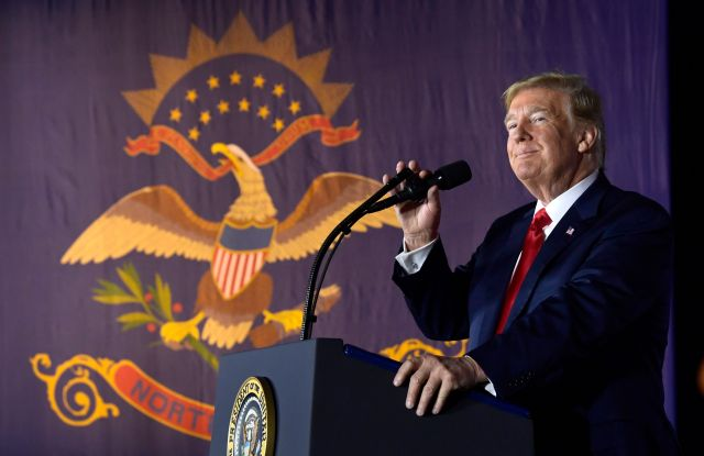 President Donald Trump speaks at a fundraiser in Fargo, N.D., . Trump is making his second visit to North Dakota's biggest city within 10 weeks to campaign for Senate candidate Kevin Cramer, this time to help Cramer build up his financesTrump, Fargo, USA - 07 Sep 2018