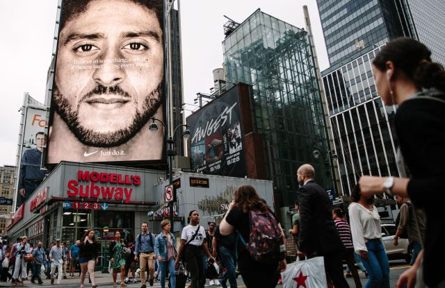 A new Nike ad campaign billboard featuring NFL quarterback Colin Kaepernick can be seen in midtown Manhattan, in New York, New York, USA, 07 September 2018.Nike campaign featuring Colin Kaepernick ad in New York, USA - 07 Sep 2018