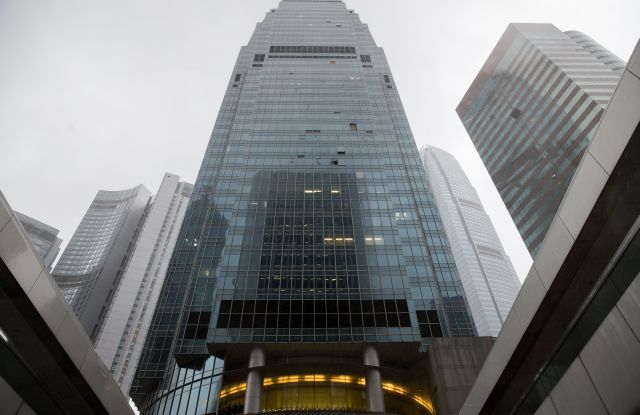 Broken window panels in the aftermath of Typhoon Mangkhut are seen on the IFC complex in Hong Kong.